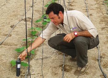 Un hombre con unos cultivos, que forma parte de la agronomía de AGQ Labs Colombia
